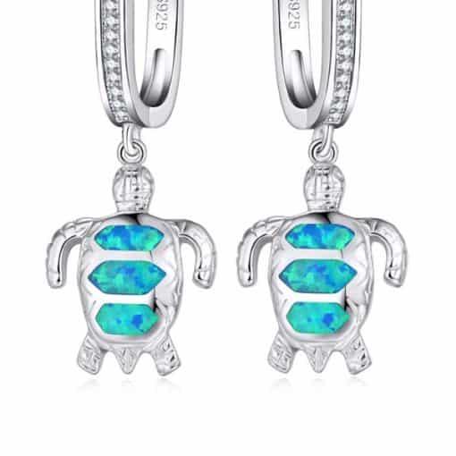 boucles d'oreille tortue opale de feu