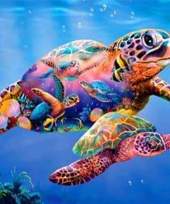 deux tortues de mer colorées
