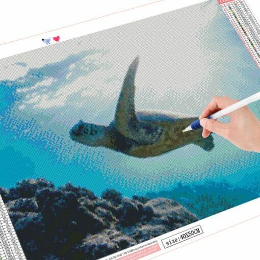 peinture diamant art tortue marine