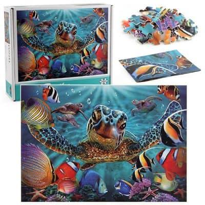 boite de puzzle 1000 tortue sous marins