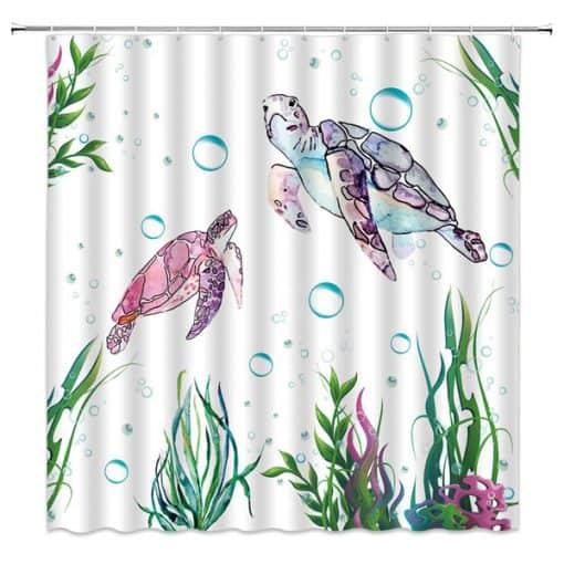 rideau de douche coloré avec tortues de mer et algues