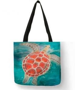 aquarelle de tortue sur sac à main femme