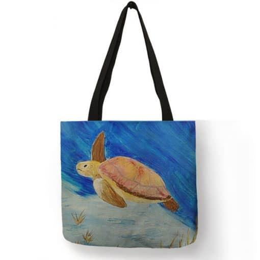 aquarelle tortue sur sac