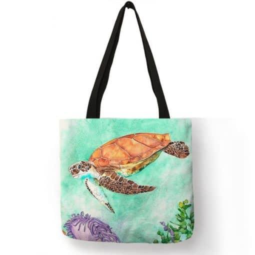 dessin tortue sur sac à main