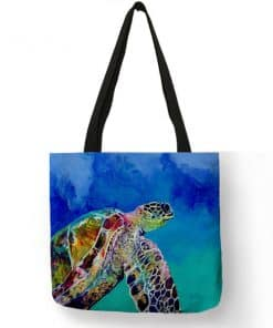 peinture de tortue sur sac à main femme