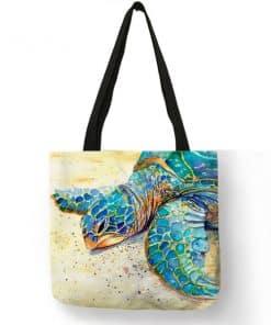 dessin de tortue sur sac à main femme