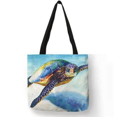 photo de tortue pastelle sur sac à bandoulière