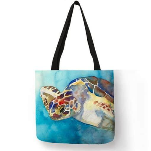 peinture de tortue sur sac fourre-tout