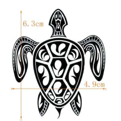 tatouage polynésien tortue de mer taille 6,3x4,9