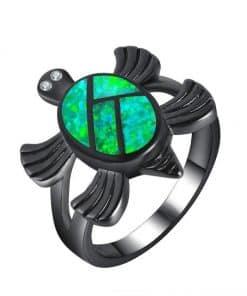 bague tortue en zircon noir carapace vert corail fleuri