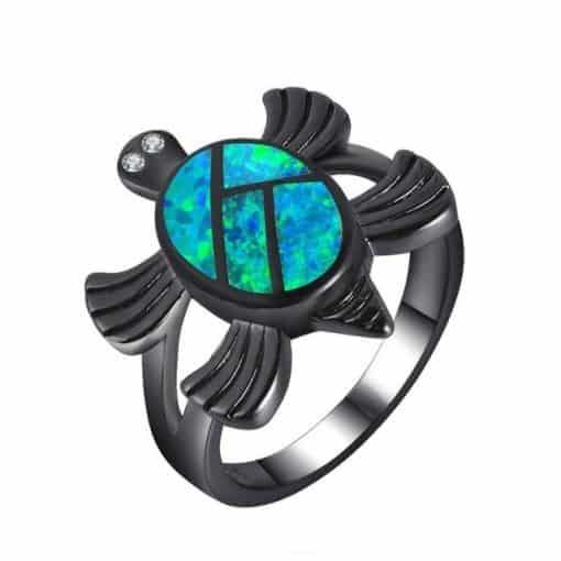 bague tortue en zircon noir carapace bleu ocean