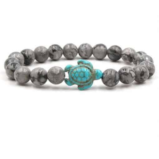 bracelet tortue perles grises marbrés