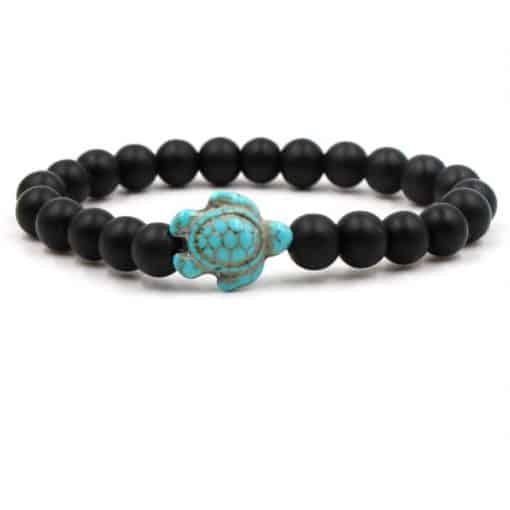 bracelet tortue perle noires opaques