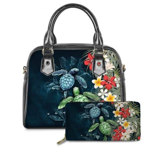 sac tortue cyan océan fleuri à bandoulière