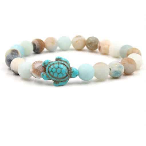 bracelet tortue perles marbrées couleur des coraux